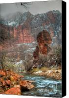 Southern Utah Canvas Prints - Waters Rushing at the Temple of Sinawava Canvas Print by Irene Abdou