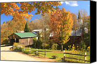 Vermont Autumn Foliage Canvas Prints - Waterville Vermont Village Covered Bridge Canvas Print by John Burk