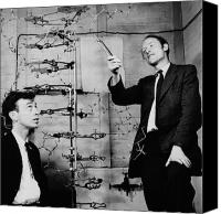 Scientific Canvas Prints - Watson and Crick Canvas Print by A Barrington Brown and Photo Researchers