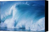 Water Art Canvas Prints - Wave Crashing With Spray Canvas Print by Ali ONeal - Printscapes