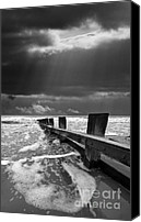 Black And White Canvas Prints - Wave Defenses Canvas Print by Meirion Matthias