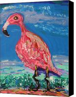 Pink Flamingo Drawings Canvas Prints - Wave Fisherman Canvas Print by Mary Carol Williams
