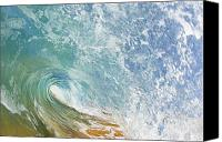 Seafoam Canvas Prints - Wave Tube along Shore Canvas Print by Quincy Dein - Printscapes