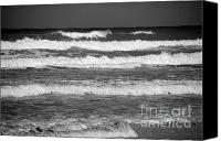 Beach Scene Canvas Prints - Waves 3 in BW Canvas Print by Susanne Van Hulst