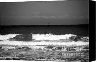 Beach Scene Canvas Prints - Waves 4 in BW Canvas Print by Susanne Van Hulst