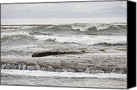 Botanical Beach Canvas Prints - Waves Crash Ashore Over Reefs Canvas Print by Taylor S. Kennedy