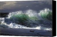 Natural Storm Canvas Prints - Waves Crashing On Cape Kiwanda Canvas Print by Natural Selection Craig Tuttle