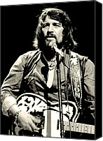 Historical Photo Canvas Prints - Waylon Jennings In Concert, C. 1976 Canvas Print by Everett