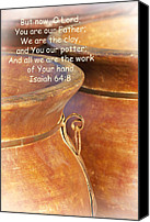 Terra Cotta Digital Art Canvas Prints - We Are The Clay - You The Potter Canvas Print by Kathy Clark