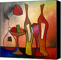 Wine Drawings Canvas Prints - We Can Share - Abstract Wine Art by Fidostudio Canvas Print by Tom Fedro - Fidostudio