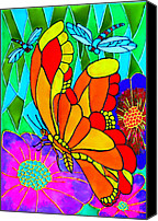 Garden Glass Art Canvas Prints - We Fly Canvas Print by Farah Faizal