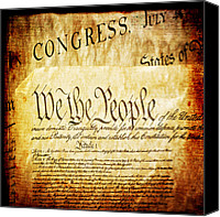 Flag Mixed Media Canvas Prints - We The People Canvas Print by Angelina Vick