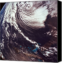 Astronomy Canvas Prints - Weather Systems Over The Earth Canvas Print by Stockbyte