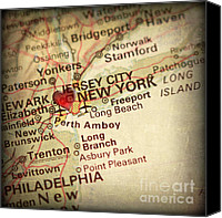Manhattan Map Canvas Prints - Weathered Antique Map in a Grunge Vintage border with a Heart of Canvas Print by ELITE IMAGE photography By Chad McDermott
