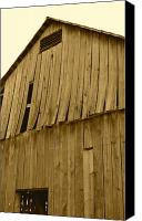 Farming Barns Canvas Prints - Weathered Barn I in sepia Canvas Print by JD Grimes