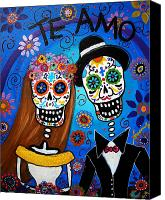 Dia De Los Muertos Canvas Prints - Wedding Couple  Canvas Print by Pristine Cartera Turkus