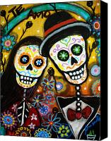 Guitar Painting Canvas Prints - Wedding Dia De Los Muertos Canvas Print by Pristine Cartera Turkus