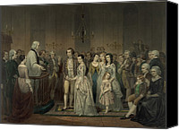 Families Canvas Prints - Wedding Of George Washington And Martha Canvas Print by Everett