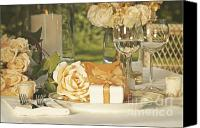 Dine Canvas Prints - Wedding party favors on plate at reception Canvas Print by Sandra Cunningham