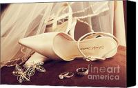 Invitation Canvas Prints - Wedding shoes with veil and rings on velvet chair Canvas Print by Sandra Cunningham