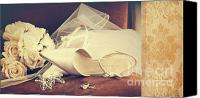 Innocence Canvas Prints - Wedding shoes with veil on velvet chair Canvas Print by Sandra Cunningham