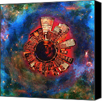 Nikki Marie Smith Canvas Prints - Wee Manhattan Planet - Artist Rendition Canvas Print by Nikki Marie Smith