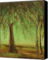Contemplative Canvas Prints - Weeping Willow Canvas Print by Mary Wolf