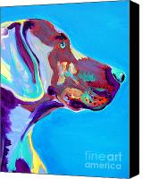 Colorful Print Canvas Prints - Weimaraner - Blue Canvas Print by Alicia VanNoy Call