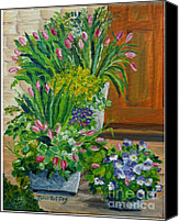 Potted Plants Painting Canvas Prints - Welcome Home Canvas Print by Julie Brugh Riffey