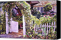 Featured Painting Canvas Prints - Welcome Rose Covered Gate Canvas Print by David Lloyd Glover