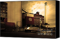 Factories Canvas Prints - Welcome To Crockett California Blue Collar USA . Golden . 7D8856 Canvas Print by Wingsdomain Art and Photography