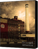 Factories Canvas Prints - Welcome To Crockett California Blue Collar USA . Golden . 7D8862 Canvas Print by Wingsdomain Art and Photography