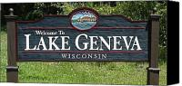 Lake Geneva Wisconsin Canvas Prints - Welcome to Lake Geneva Wisconsin Canvas Print by Timberline Sign Company