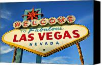 Travel Canvas Prints - Welcome to Las Vegas sign Canvas Print by Garry Gay