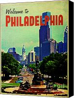 Philadelphia Skyline Canvas Prints - Welcome To Philadelphia Canvas Print by Vintage Poster Designs