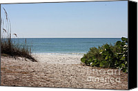 Blue Photo Canvas Prints - Welcome to the Beach Canvas Print by Carol Groenen