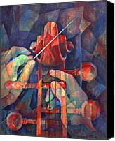 Classical Musical Art Canvas Prints - Well Conducted - Painting of Cello Head and Conductors Hands Canvas Print by Susanne Clark