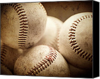Baseball Canvas Prints - Well Worn Canvas Print by Lisa Russo