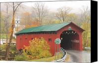 Vermont Autumn Foliage Canvas Prints - West Arlington Covered Bridge Vermont Autumn Mist Canvas Print by John Burk