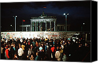 1980s Canvas Prints - West Germans Hold A Vigil Canvas Print by Everett