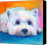 Greeting Cards Canvas Prints - West Highland Terrier dog painting Canvas Print by Svetlana Novikova