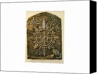 Bronze Reliefs Canvas Prints - West Meets Southwest Compass Rose Canvas Print by Thor Sigstedt