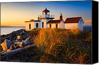 Puget Sound Canvas Prints - West Point Lighthouse Canvas Print by Inge Johnsson