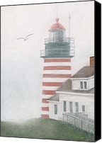Seascape Pastels Canvas Prints - West Quoddy Head Lighthouse Canvas Print by Brent Ander