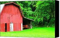 Wv Canvas Prints - West Virginia Barn and Baler Canvas Print by Thomas R Fletcher