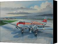 Stormy Canvas Prints - Western Airlines DC-3 Canvas Print by Stuart Swartz