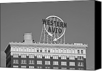 Kansas City Canvas Prints - Western Auto Building of Kansas City Missouri bw Canvas Print by Elizabeth Sullivan