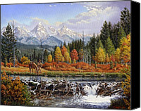 Beaver Painting Canvas Prints - Western Mountain Landscape Autumn Mountain Man Trapper Beaver Dam Americana Oil Painting orange  Canvas Print by Walt Curlee