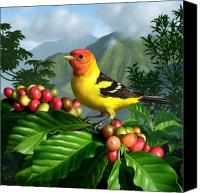 Vegetation Canvas Prints - Western Tanager Canvas Print by Jerry LoFaro