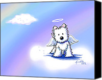Whimsical Canvas Prints - Westie Angel At Rainbow Bridge Canvas Print by Kim Niles